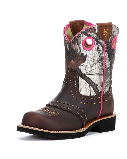 Ariat Kid's Fatbaby Cowgirl Boot - Rough Brown/Mossy Oak