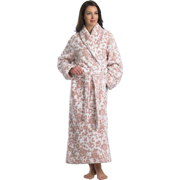 Long Floral Robe Blush Fleece   Fashideas.com