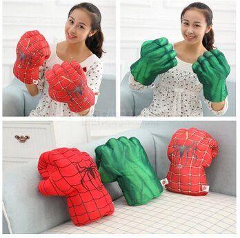 #1103 Plush toys creative adult children carton plush toy boxing gloves Hulk Spiderman glove boy dol @ niftywarehouse.com