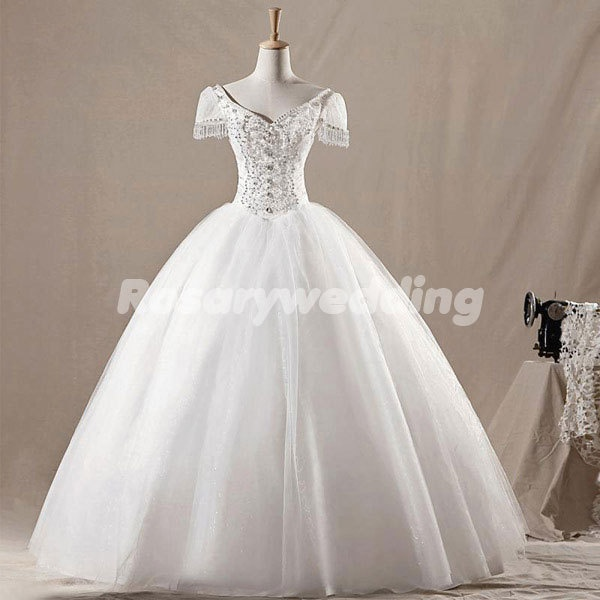 Aristocratic sleeves organza tulle ball wedding dress. $368.00, via Etsy.