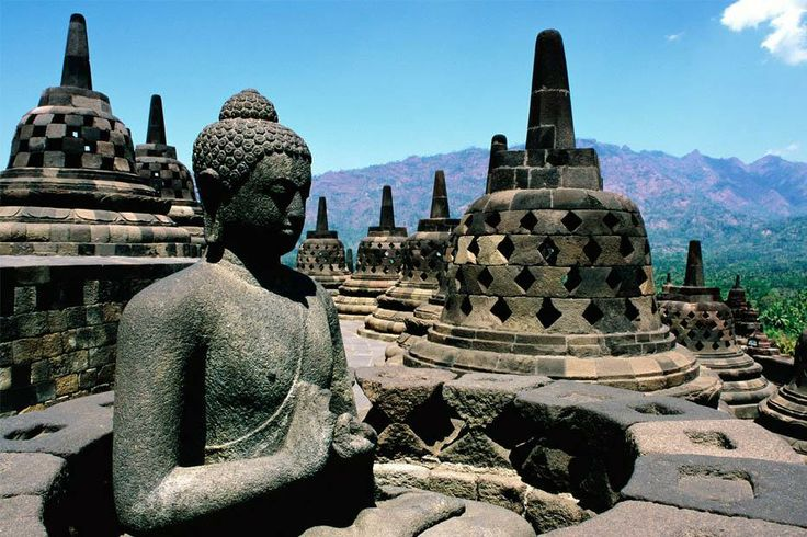 The magnificent BOROBUDUR temple is the world's biggest Buddhist monument, an ancient site widely considered to be one of the world's seven wonders. Built in the 9th century during the reign of the Syailendra dynasty, the temple's design in Gupta architecture reflects India's influence on the region, yet there are enough indigenous scenes and elements incorporated to make Borobudur uniquely Indonesian. It's location at MAGELANG, Central Java.