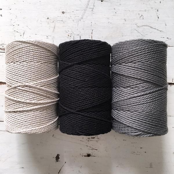 Twisted Macrame Cotton Rope • Linen Cotton Blend - Black - Grey • 1.5  – ChompaHandmade