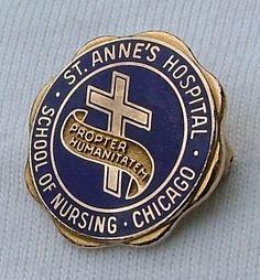St. Anne's Chicago School of Nursing graduation pin.