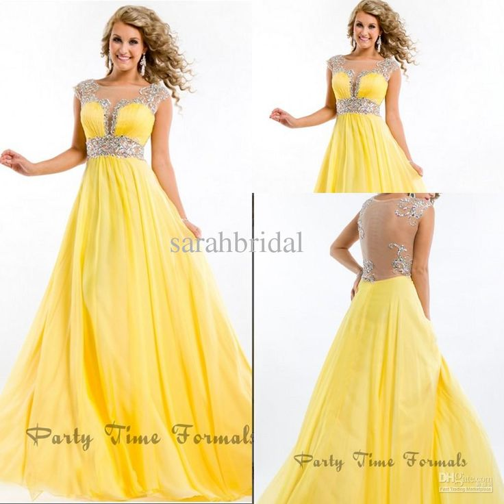 Wholesale Prom Dresses - Buy Breathtaking See Through 2014 Sexy Prom Dresses Jewel Yellow Daffodil Chiffon Beaded Appliques Long Backless Pageant Dress Evening Gowns, $139.0 | DHgate