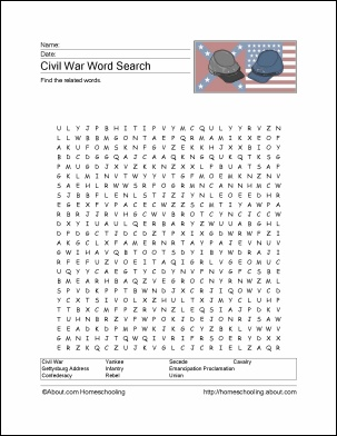 Civil War Printables | War Between the States | Civil war activities ...