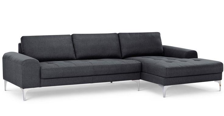 Vittorio Right Hand Facing Corner Sofa Group, Anthracite Grey