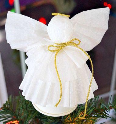 Easy DIY coffee filter paper angel - Christmas ornament // Angyalka karácsonyfadísz kávéfilter papírból és papírpohárból // Mindy - craft tutorial collection // #crafts #DIY #craftTutorial #tutorial