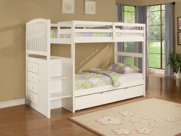 Angelica White Twin Bunk Bed With Stairs By Powell Company