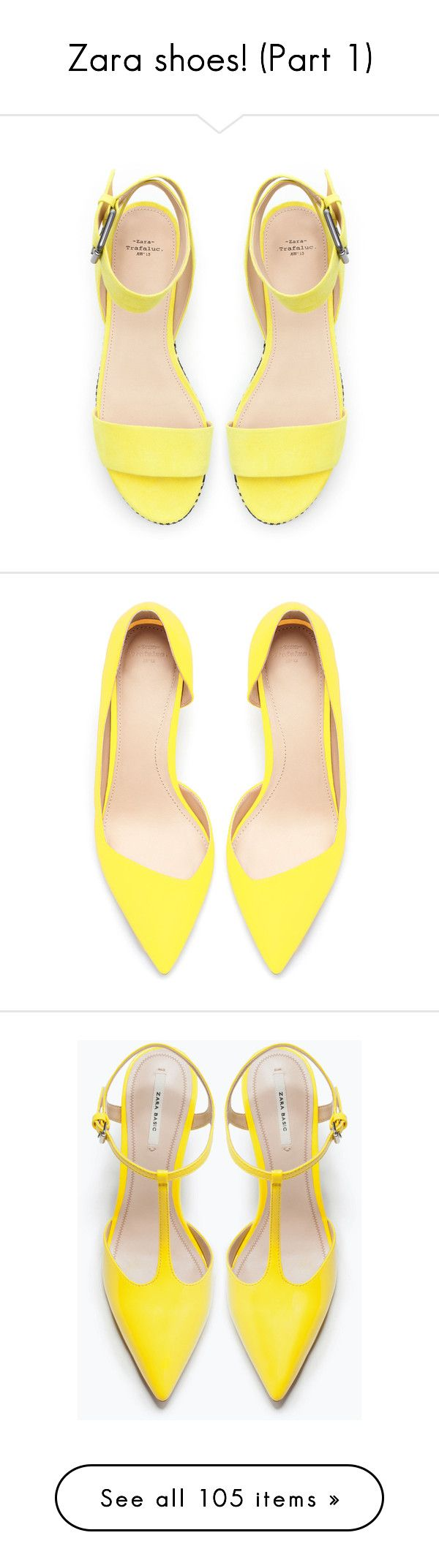 """Zara shoes! (Part 1)"" by blueladybird ❤ liked on Polyvore featuring shoes, sandals, heels, flats, yellow, yellow flats, flat heel shoes, yellow sandals, zara shoes and zara flats"