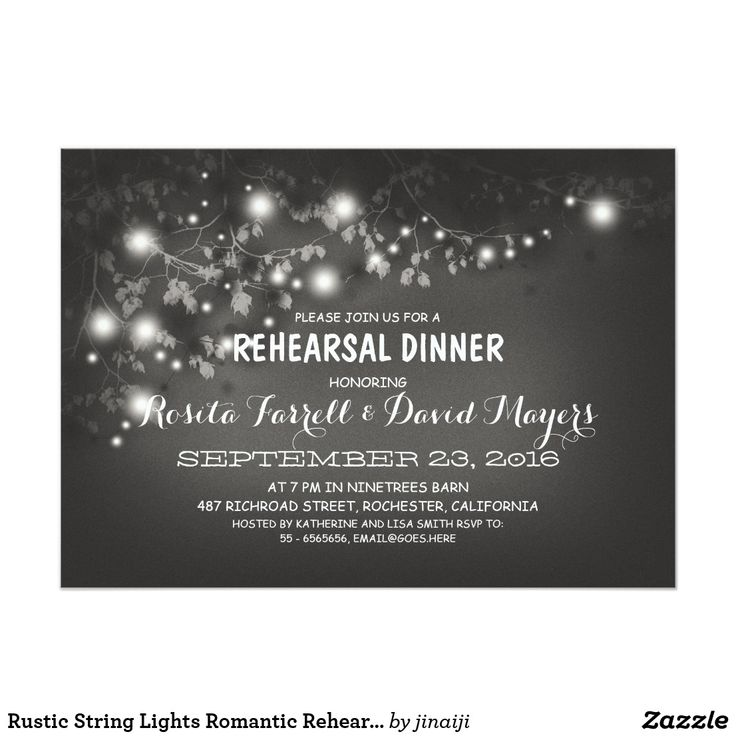 creative wording for rehearsal dinner invitations%0A Rustic String Lights Romantic Rehearsal Dinner Card Night lights Rehearsal  Dinner invitation with cute tree branches and string of lights