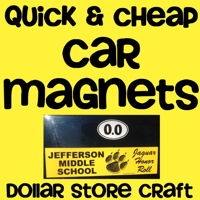 Bumper Sticker turned Car Magnet    Don't want to put a sticker on your vehicle? Here is a quick & cheap way to turn your bumper stickers into car magnets! Buy a magnetic vent cover. I got mine for a dollar at Dollar Tree.    Stick your bumper stickers to the top side of the magnet.  Cut them out and stick to your vehicle!