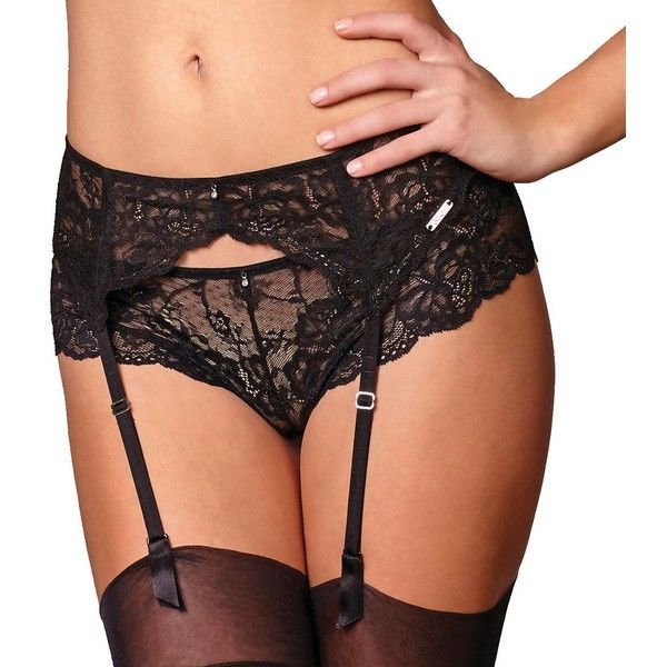 Montelle Intimates Lace Garter Belt 9153 ($28) ❤ liked on Polyvore featuring intimates, black, garter lingerie, suspender belt, lace garter belt, suspender garter belt and floral lingerie