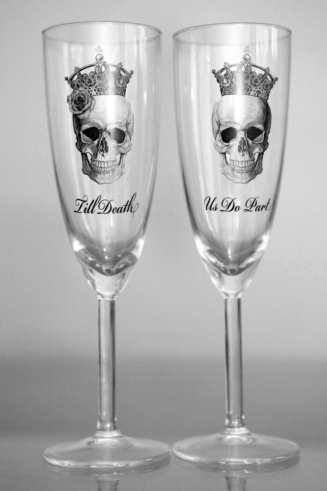 "x2 Macarbe ""Till death Us Do Part"" Skull Rose Crown GLASS CHAMPAGNE FLUTES Bnew"