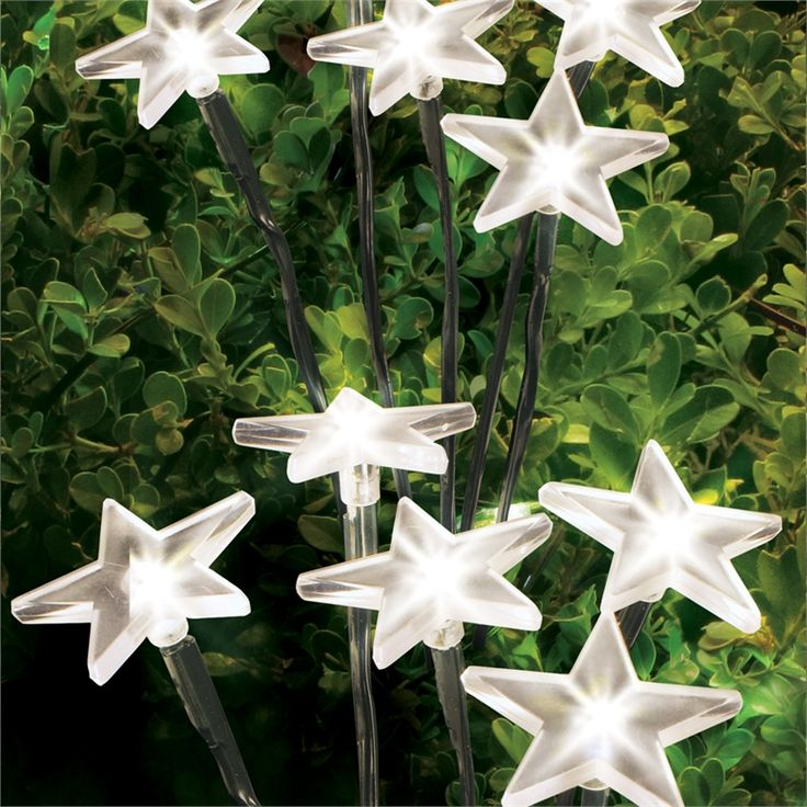 Lytworx 20 LED White Star Festive Solar Garden Stake Lights - 4 Pack