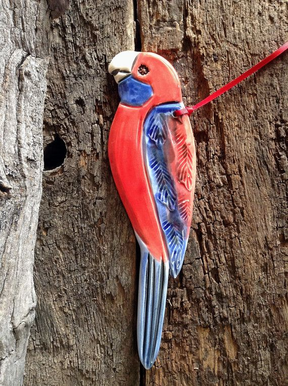 Crimson Rosella - Handmade ceramic decorative bird. This and other's available from my Etsy shop