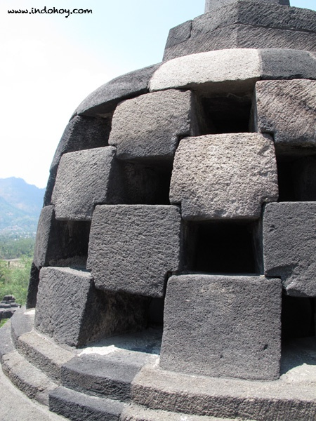 A stupa of Borobudur temple up close, Central Java.