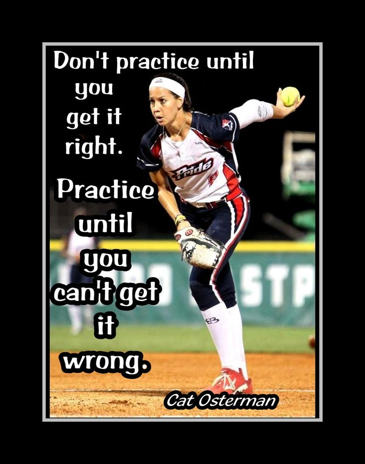"Softball Pitcher Motivation Poster Cat Osterman Photo Quote Wall Art Print 5x7""- 11x14"" Practice Til You Can't Get It Wrong - Free USA Ship by ArleyArt on Etsy"