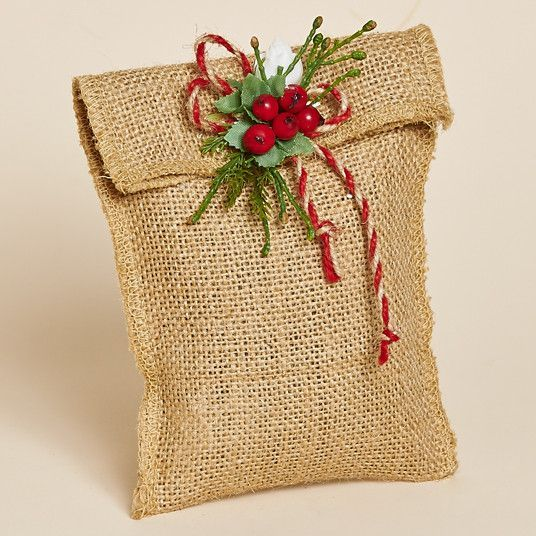 Set of Three, Maine Balsam Burlap Sachet with Red Berries, Faux Pine and a Natural and Red Jute Bow