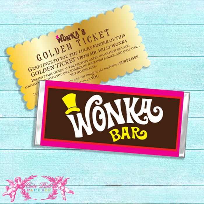 willy wonka party candy party printable chocolate bar wrappers golden tickets cutie putti