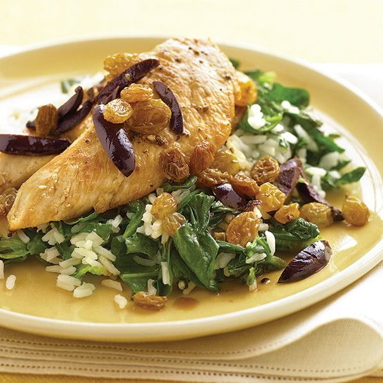 Combine chicken cutlets and spinach into an appetizing meal sparked by tangy olives and sweet raisins.
