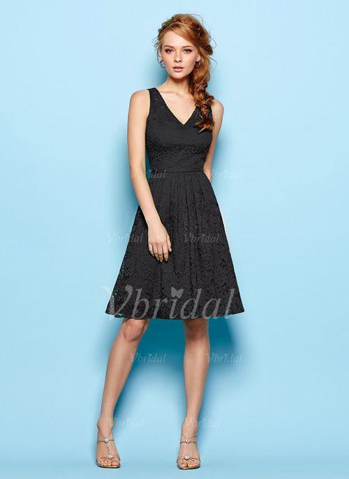 Bridesmaid Dresses - $122.34 - A-Line/Princess V-neck Knee-Length Lace Bridesmaid Dress (0075057151)