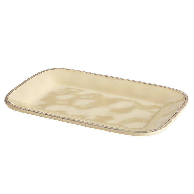 Rachael Ray Cucina Dinnerware 8-Inch x 12-Inch Stoneware Rectangular Platter, Almond Cream, Beige