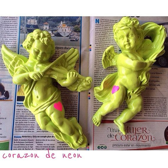 lime green ceramic angel by corazondeneon on Etsy, $15.00