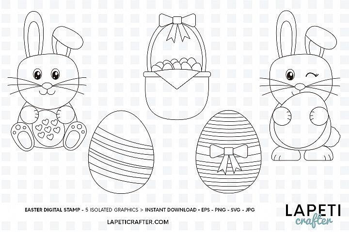 Easter Digital Stamp Easter Clipart Easter Colouring Pages 520583 Stamps Design Bundles Easter Coloring Pages Stamp Design Digital Stamps