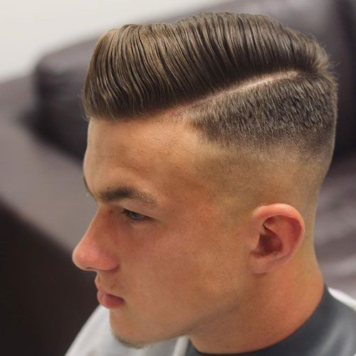 High Skin Fade With Hard Part Comb Over Combover