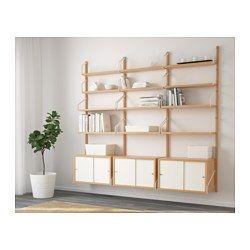 SVALNÄS Vægmonteret opbevaringsløsning, bambus, hvid - 193x35x176 cm - IKEA