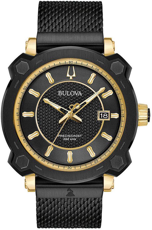 Bulova Men's Precisionist Grammy Black Stainless Steel Mesh Bracelet Watch 44mm