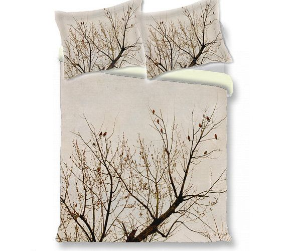 Tree duvet cover- branches red birds nature, beige brown duvet cover, comforter  king queen twin duvet cover & shams, contemporary bedroom