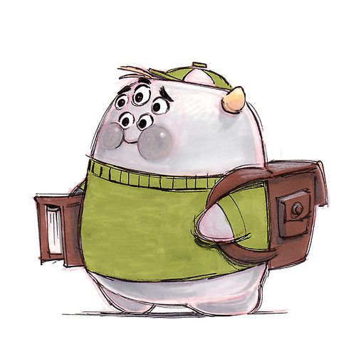"Character development art of Scott ""Squishy"" Squibbles. #Monsters University"