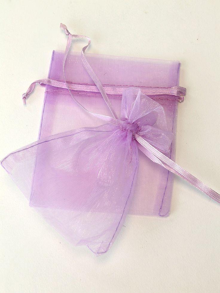 "3"" x 5"" Organza Draw String Bags (Pkt 5) - Lilac - The Wedding Faire"