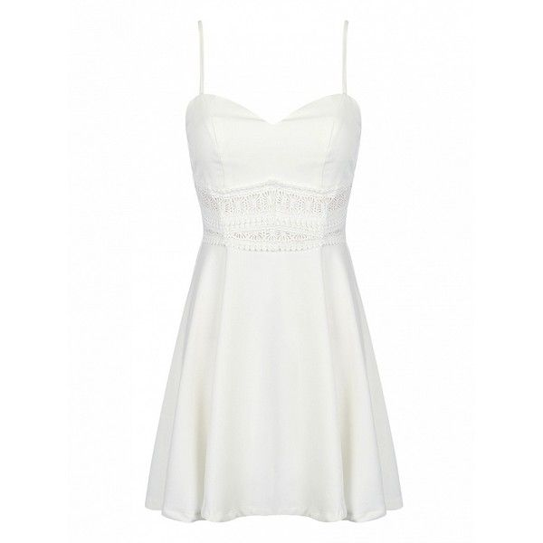 Choies White Spaghetti Strap Lace Waist Skater Dress ($20) ❤ liked on Polyvore featuring dresses, white, lace mini dress, white lace dress, white day dress, short dresses and white dress