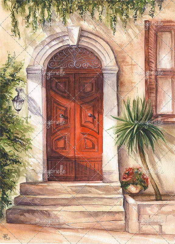 Maltese Door - Watercolor Painting & Print by Magnifera on Etsy