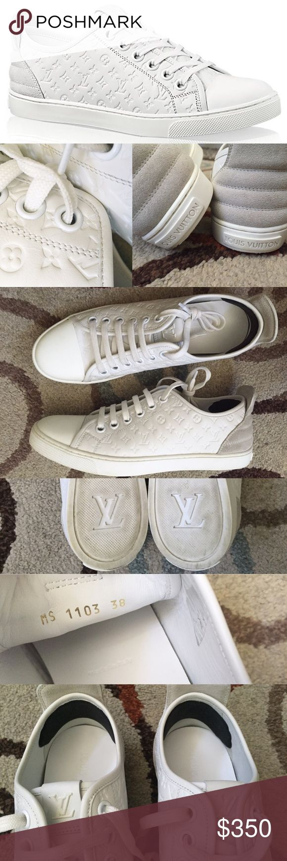 Louis Vuitton Punchy Sneakers Women's Shoes 38 8 100% authentic. Pre-owed in excellent condition. Clean, no defect, no smell.., I love them. Super stylist. Must see to appreciate. Fit well in my narrow feet, sole measured 10in long, I use heel huggings in most of my flats, so they were tapped inside of this sneakers as well - see photo. Louis Vuitton Shoes Sneakers