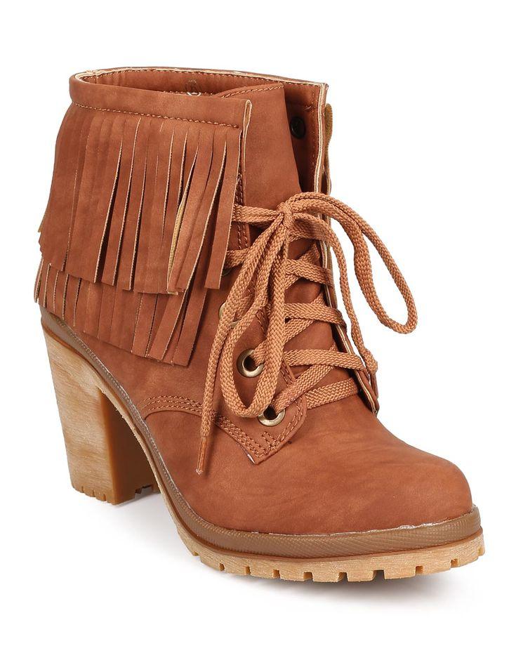 New-Women-Liliana-Hanson-2-Leatherette-Round-Toe-Fringe-Chunky-Heel-Combat-Boot