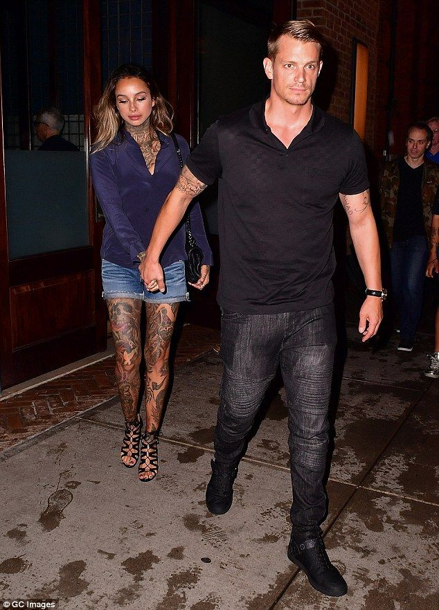 Date night: Joel Kinnaman complimented his female co-stars looks in an all-black ensemble and brought along his stunning inked-up wife Cleo Wattenstrom