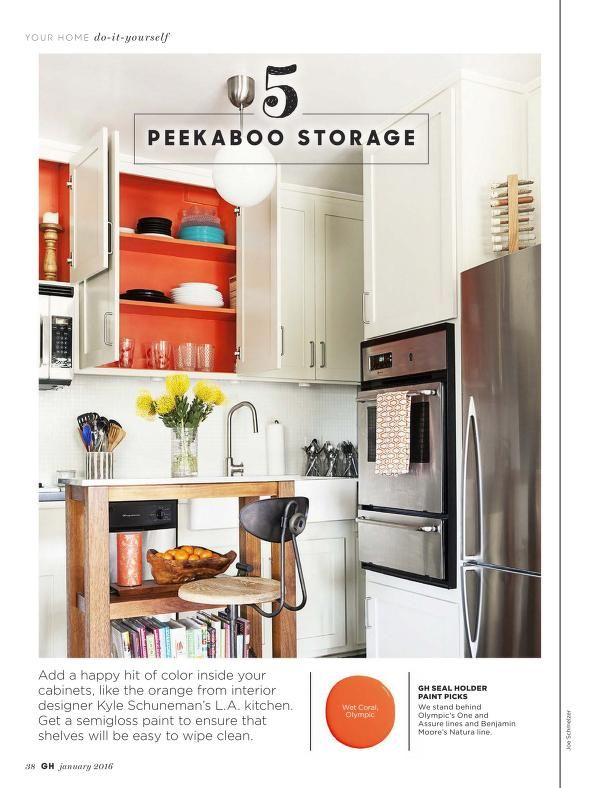 creative inspiration do it yourself kitchen remodel. Orange paint inside kitchen cabinets  Good Housekeeping January 2016 USA 33 best Kitchen images on Pinterest Households Baking center
