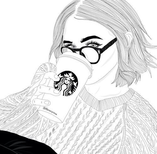 outline, girl, and starbucks image