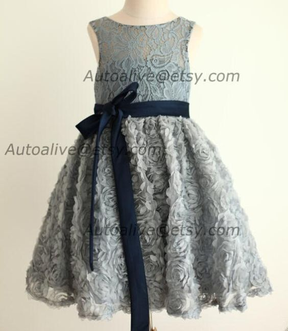 The flower girl dress cheap which match the flowers- gray lace rosette keyhole flower girl dress/communion/baptism/junior bridesmaid dress/baby girl dress/navy blue bow sash/wedding is offered in liuyanfei1688 and on DHgate.com flower girl dress patterns free along with flower girl dressed are on sale, too.
