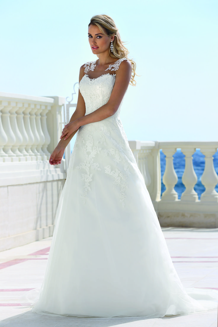 "Wedding Dress Range - ""Ladybird Dress - 416031""  Tulle and Lace with zip up back. Available in ivory/ivory and Ivory/Nude"