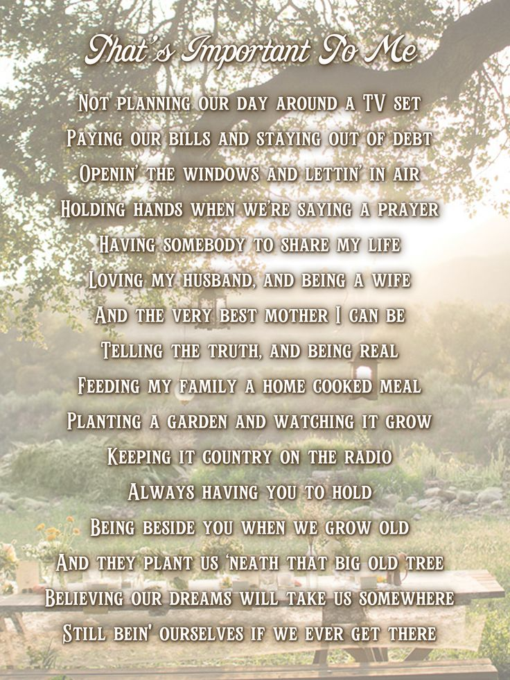 What's Important To Me.  (lyrics from Joey & Rory)