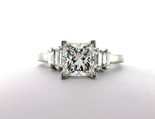 Baguette engagement ring with princess-cut diamond
