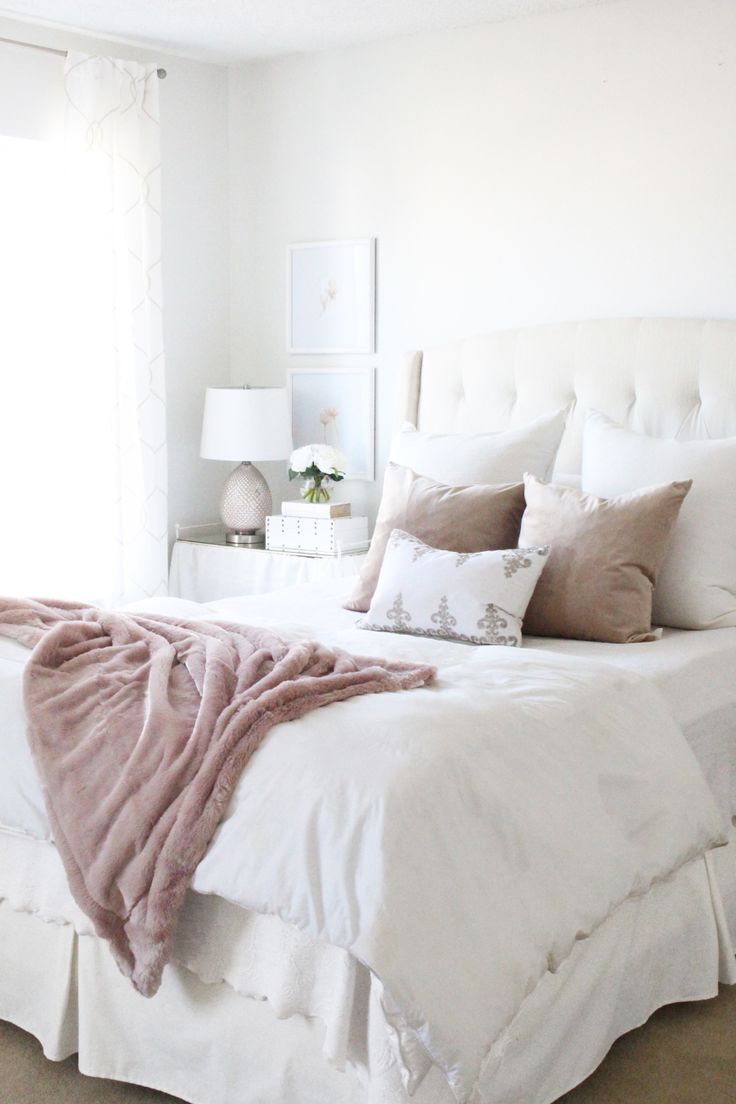 Chic white and mauve bedroom decor: Photography: Courtney Davey -    Read More on SMP: http://www.stylemepretty.com/living/2017/06/12/a-bedroom-office-makeover-on-a-budget/