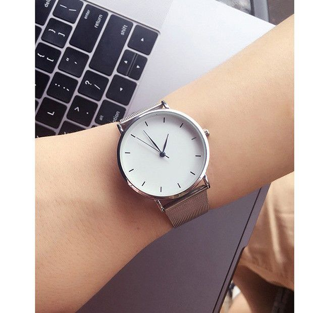 Hot fashion minimalism style women's watches blue pointer simple silver watch women quartz clock with stainless steel mesh band