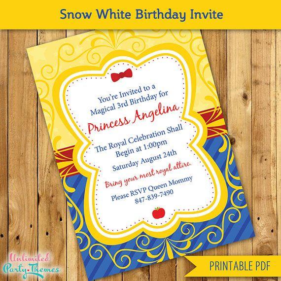 Princess Snow White Birthday Invitation / by UnlimitedPartyThemes, $12.00