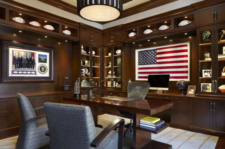 Very masculine home office.