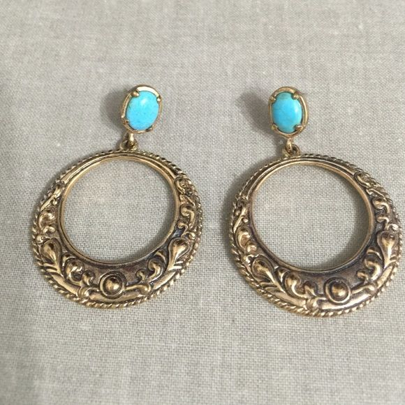 Barse Earrings Classic gold tone, turquoise post earrings!  Really pretty! Barse Jewelry Earrings